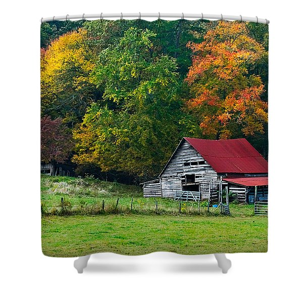 Candy Mountain Shower Curtain by Debra and Dave Vanderlaan