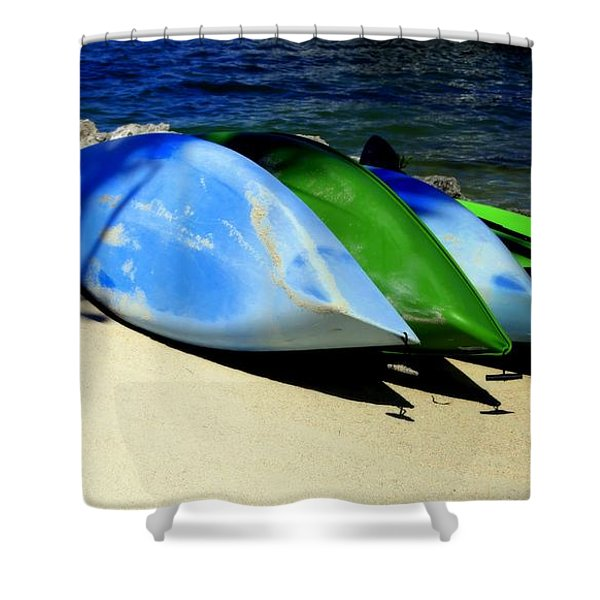 Canoe Shadows Shower Curtain by Karen Wiles