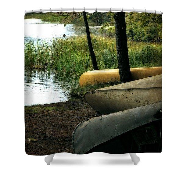 Canoe Trio Shower Curtain by Michelle Calkins
