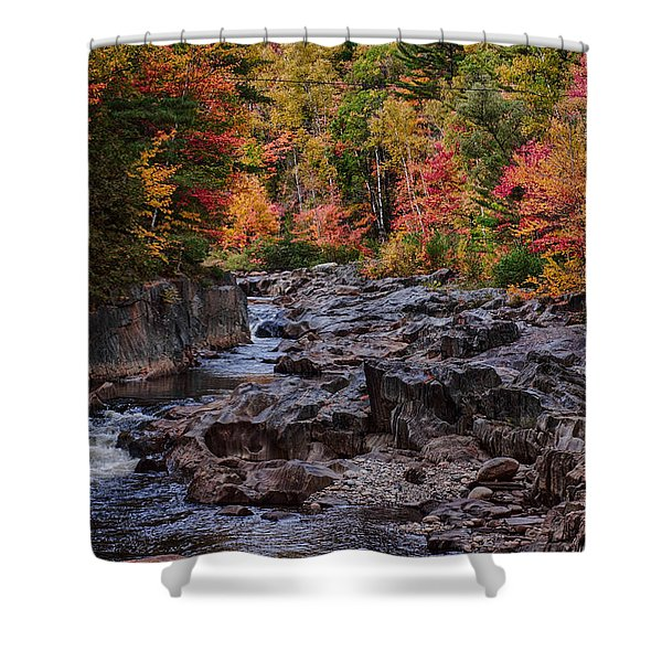 Canyon color rushing waters Shower Curtain by Jeff Folger