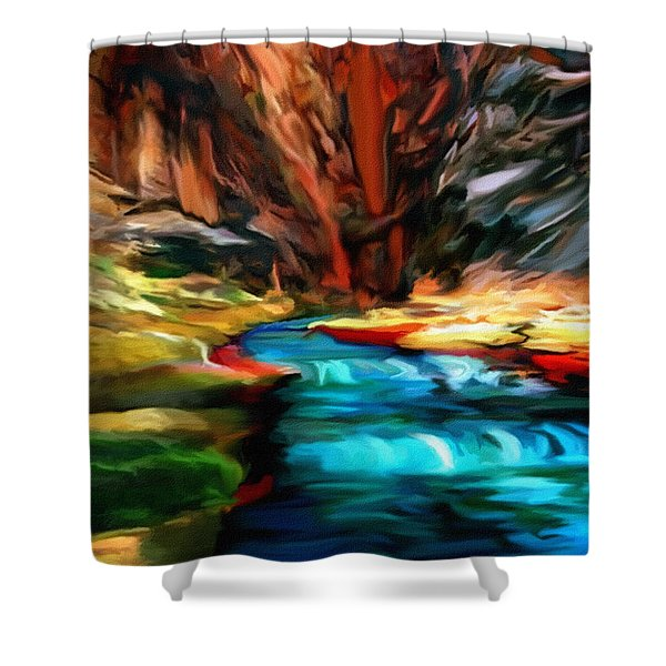 Canyon Waterfall Impressions Shower Curtain by  Bob and Nadine Johnston