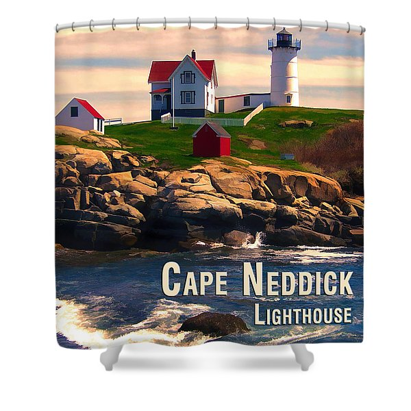 Cape Neddick Lighthouse  At Sunset  Shower Curtain by Elaine Plesser