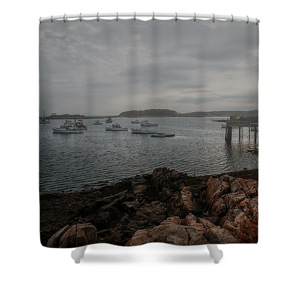 Cape Porpoise Fog Rolls In Shower Curtain by Bob Orsillo