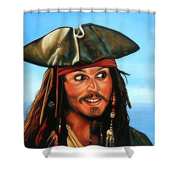 Captain Jack Sparrow Shower Curtain by Paul  Meijering
