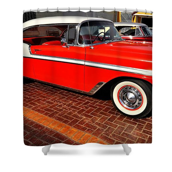 Car - Bel Air - Red Shower Curtain by Liane Wright