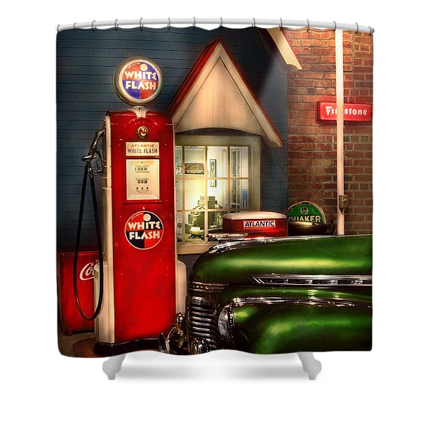 Car - Station - White Flash Gasoline Shower Curtain by Mike Savad