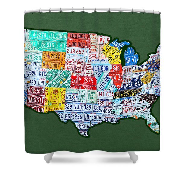 Car Tag Number Plate Art USA on Green Shower Curtain by Design Turnpike