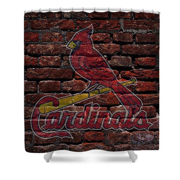 Cardinals Baseball Graffiti on Brick  Shower Curtain by Movie Poster Prints