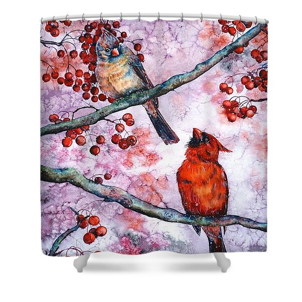 Cardinals  Shower Curtain by Zaira Dzhaubaeva