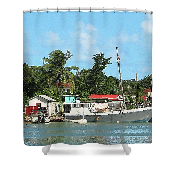 Caribbean - Docked Boats At Antigua Shower Curtain by Susan Savad