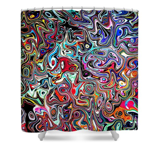 Carnival an Abstract Modern Contemporary Digital Art Shower Curtain by Annie Zeno