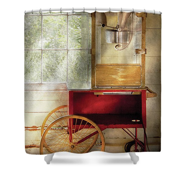Carnival - The popcorn cart Shower Curtain by Mike Savad