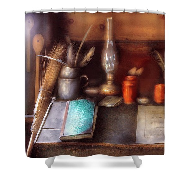 Carpenter - In a carpenter's workshop  Shower Curtain by Mike Savad