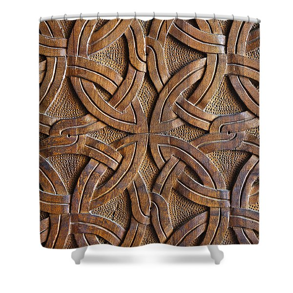Carved Wooden Door In The Tsminda Sameba Cathedral Tbilisi Shower Curtain by Robert Preston