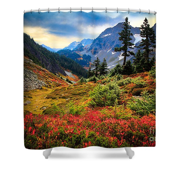 Cascade Pass Fall Shower Curtain by Inge Johnsson