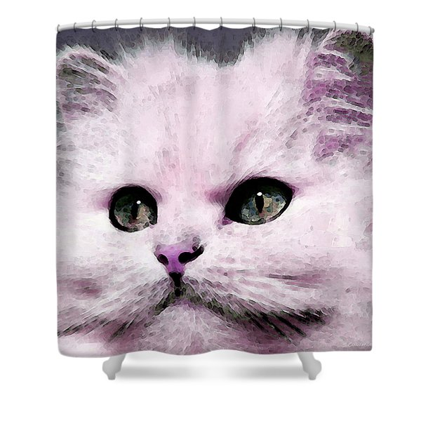 Cat Art - My Eyes Adore You Shower Curtain by Sharon Cummings