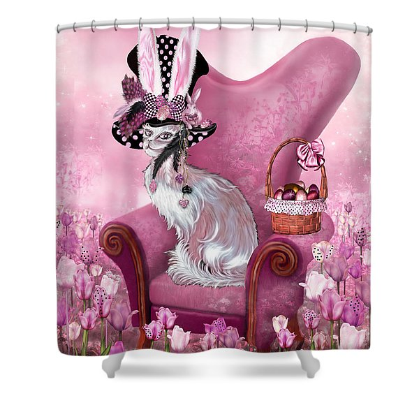 Cat In Mad Hatter Hat Shower Curtain by Carol Cavalaris