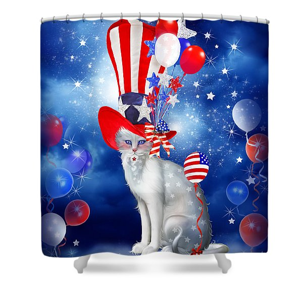 Cat In Patriotic Hat Shower Curtain by Carol Cavalaris