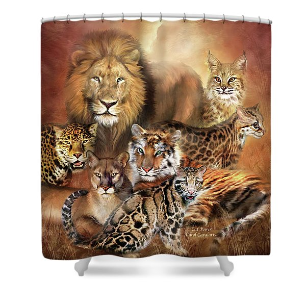 Cat Power Shower Curtain by Carol Cavalaris