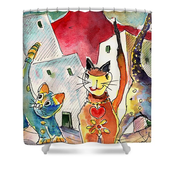 Cat Town In Lanzarote Shower Curtain by Miki De Goodaboom