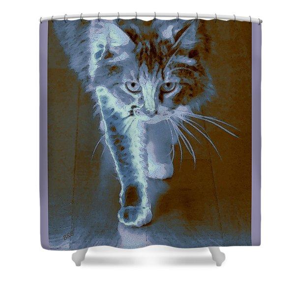 Cat Walking Shower Curtain by Ben and Raisa Gertsberg