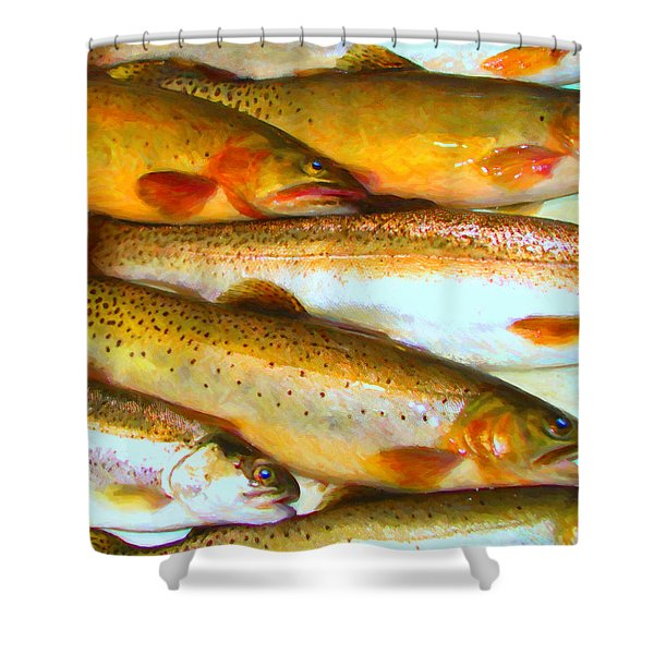 Catch of The Day - Painterly - v2 Shower Curtain by Wingsdomain Art and Photography