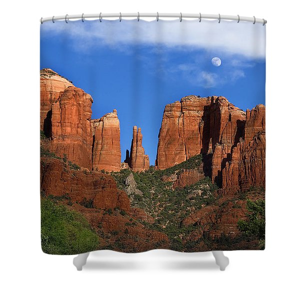 Cathedral Rock Moon Rise Color Shower Curtain by Dave Dilli