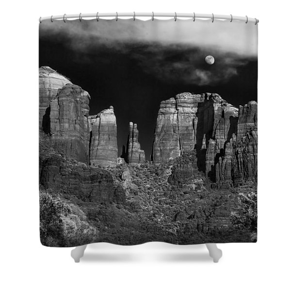Cathedral Rock Moon Rise Shower Curtain by Dave Dilli
