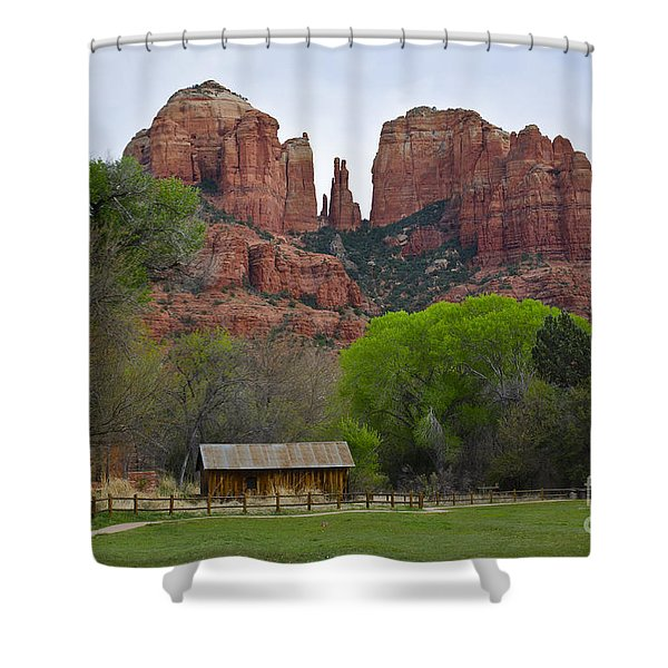 Cathedral Rock V Shower Curtain by Dave Gordon