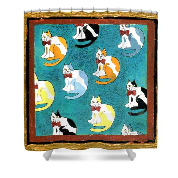 Cats Shower Curtain by Genevieve Esson