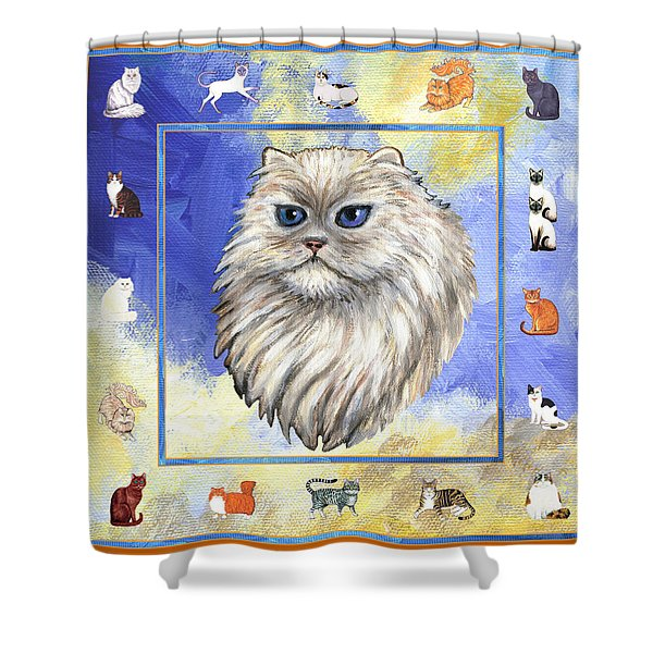 Cats Purrfection Four - Persian Shower Curtain by Linda Mears