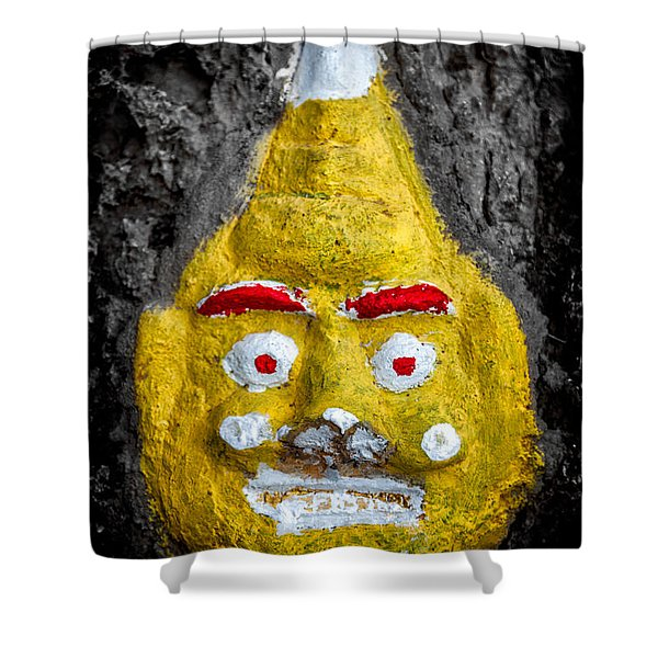 Cave Face 2 Shower Curtain by Adrian Evans