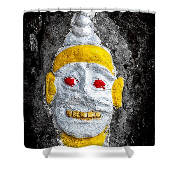 Cave Face 4 Shower Curtain by Adrian Evans