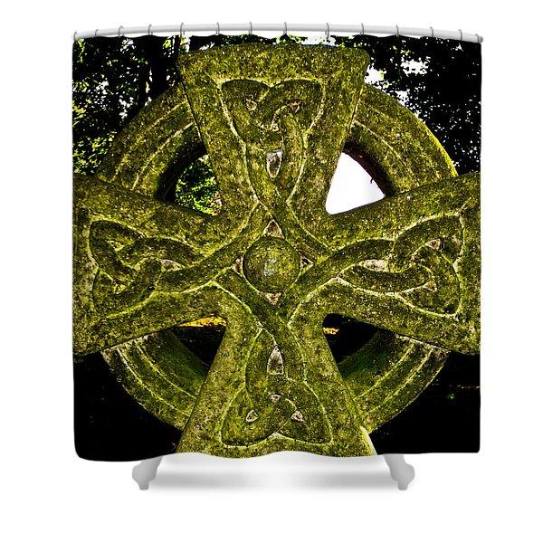 Celtic Cross Shower Curtain by David Pyatt