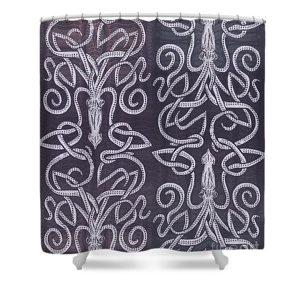 Celtic Plum Kraken Shower Curtain by CR Leyland
