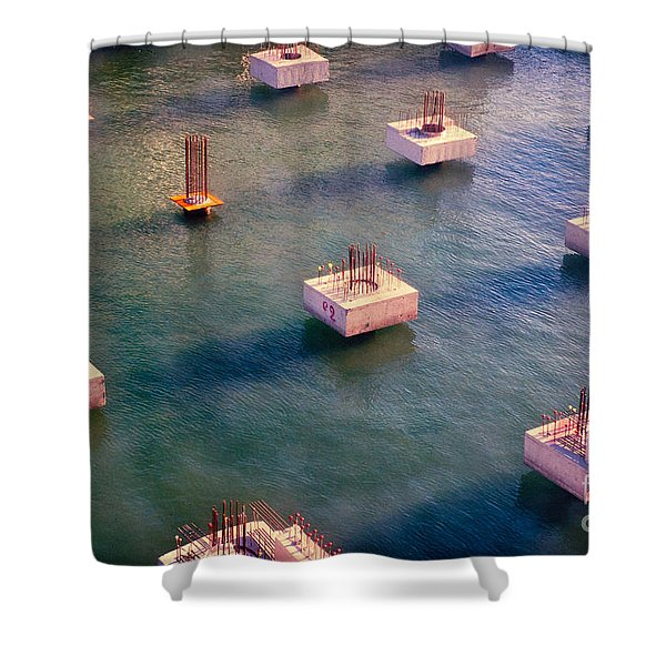 Cement Cubes Shower Curtain by Silvia Ganora