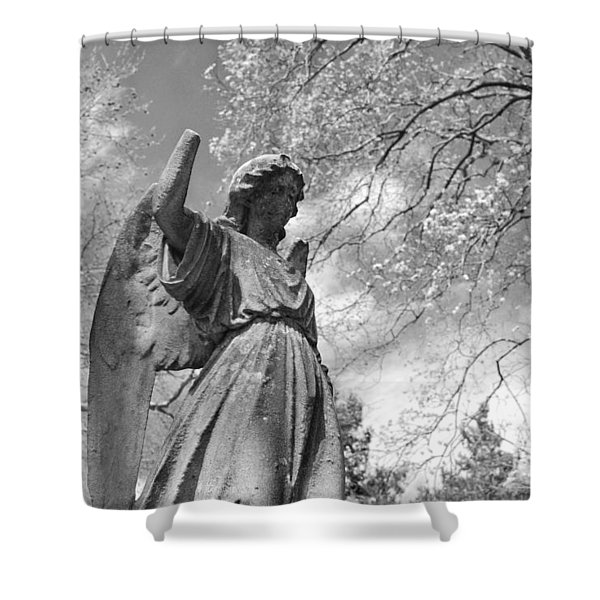 cemetery angel Shower Curtain by Jennifer Lyon