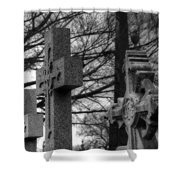 Cemetery Crosses Shower Curtain by Jennifer Lyon