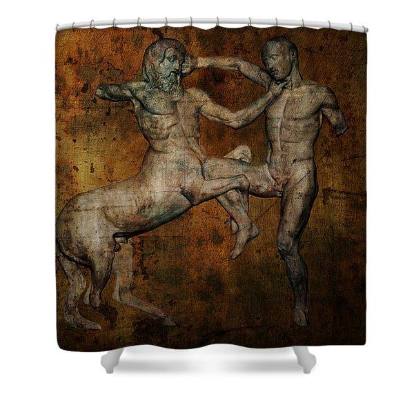 CENTAUR vs LAPITH WARRIOR Shower Curtain by Daniel Hagerman