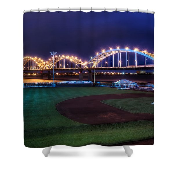 Centennial Bridge and Modern Woodmen Park Shower Curtain by Scott Norris