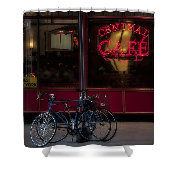Central Cafe Bicycles Shower Curtain by Susan Candelario