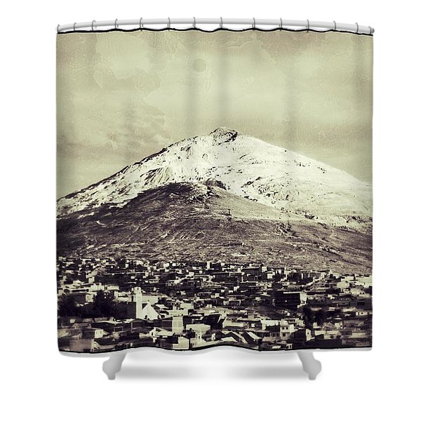 Cerro Rico Potosi Black And White Vintage Shower Curtain by For Ninety One Days