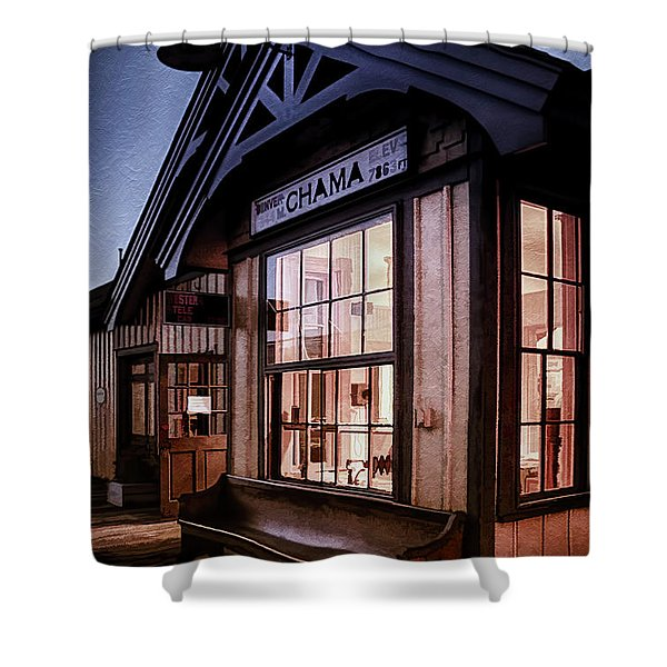 Chama Train Station Shower Curtain by Priscilla Burgers