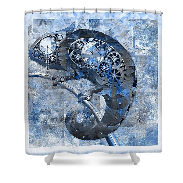 Chameleon - Blue 01b02 Shower Curtain by Variance Collections