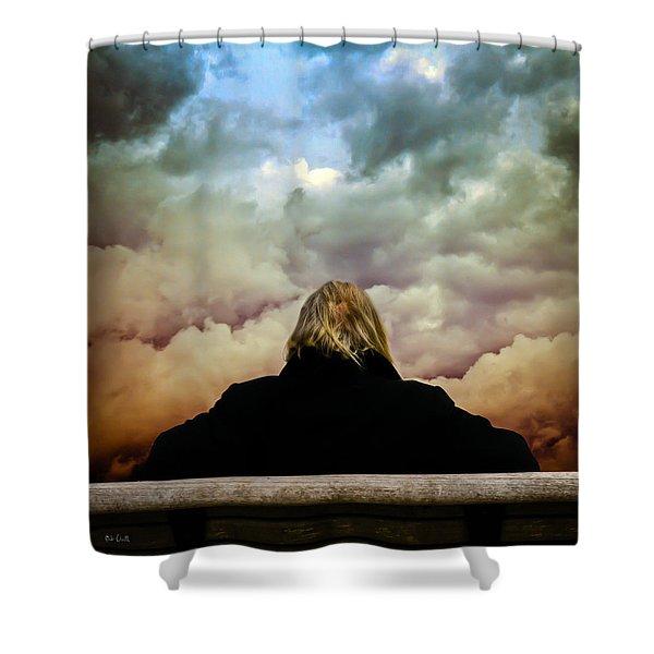 Chance of Rain First Panel  No Umbrella Shower Curtain by Bob Orsillo