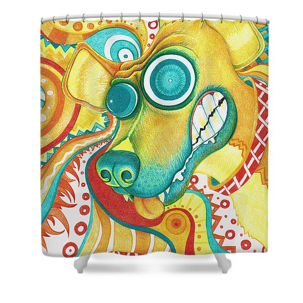Chaotic Canine Shower Curtain by Shawna  Rowe