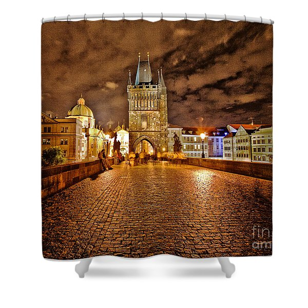 Charles Bridge At Night Shower Curtain by Madeline Ellis