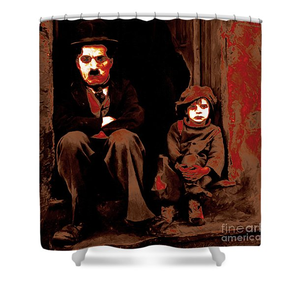 Charlie Chaplin 20130212-2-square Shower Curtain by Wingsdomain Art and Photography
