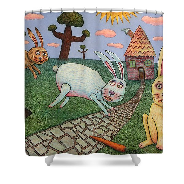 Chasing Tail Shower Curtain by James W Johnson