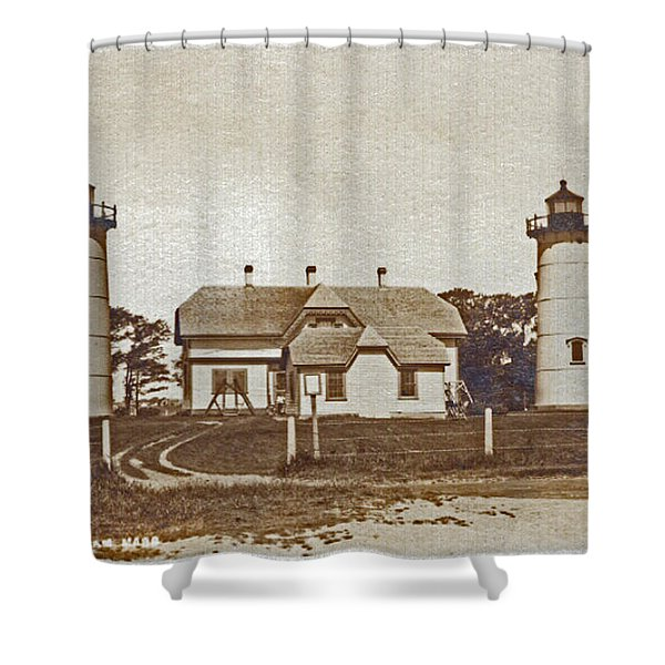 Chatham Twin Lights 1908-18 Shower Curtain by Skip Willits